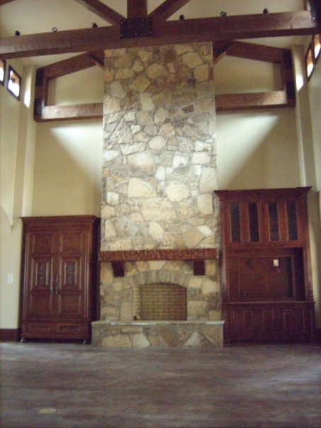 Natural Custom Stone Interior Fireplace And Chimney